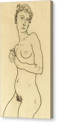 Standing Nude Canvas Print by Egon Schiele