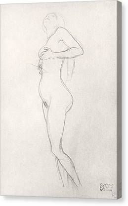 Standing Nude Girl Looking Up Canvas Print