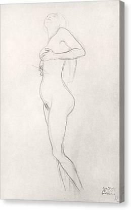 Female Figure Drawings Canvas Print - Standing Nude Girl Looking Up by Gustav Klimt