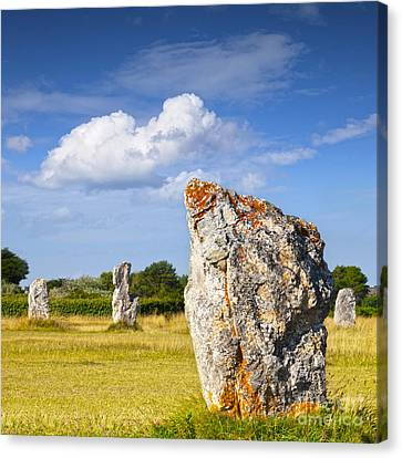 Standing Stones Lagatjar Camaret Sur Mer Brittany France Canvas Print by Colin and Linda McKie