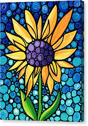 Stained Glass Canvas Print - Standing Tall - Sunflower Art By Sharon Cummings by Sharon Cummings