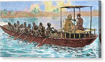Stanley And Livingstone In A Canoe Canvas Print by Prisma Archivo