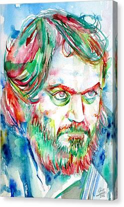 Kubrick Canvas Print - Stanley Kubrick Watercolor Portrait by Fabrizio Cassetta