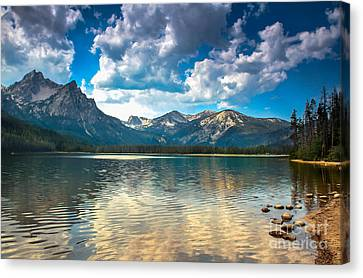 Haybales Canvas Print - Stanley Lake by Robert Bales