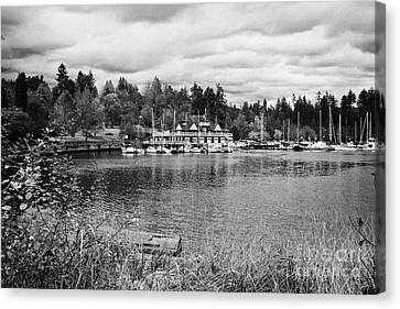stanley park coal harbour and Vancouver rowing club marina BC Canada Canvas Print by Joe Fox