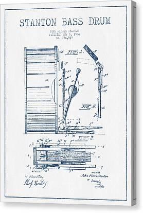 Stanton Bass Drum Patent Drawing From 1904 - Blue Ink Canvas Print by Aged Pixel