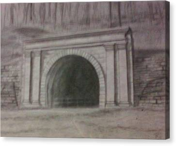 Canvas Print featuring the drawing Staple Bend Tunnel West Facade by Thomasina Durkay
