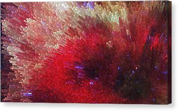 Star Burst - Red Abstract Art By Sharon Cummings Canvas Print by Sharon Cummings