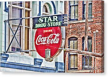 Star Drug Store - Hdr Neon Sign Canvas Print by Scott Pellegrin