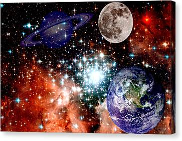 Star Field With Planets Canvas Print