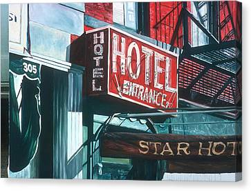 Nyc Fire Escapes Canvas Print - Star Hotel by Anthony Butera
