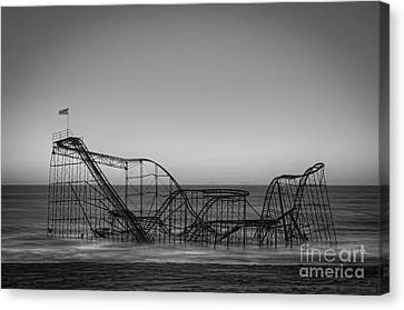 Star Jet Roller Coaster Bw Canvas Print by Michael Ver Sprill