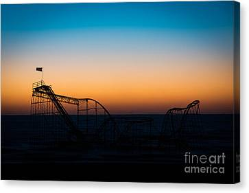 Star Jet Roller Coaster Silhouette  Canvas Print by Michael Ver Sprill