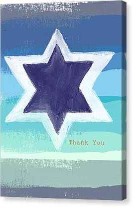 Star Of David In Blue - Thank You Card Canvas Print by Linda Woods
