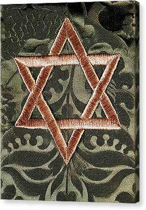 Judaic Canvas Print - Star Of David Jewish Hebrew Embroidery by Vintage Images