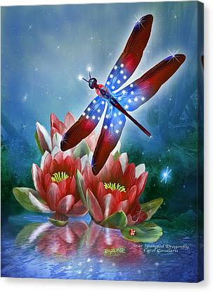 Star Spangled Dragonfly Canvas Print by Carol Cavalaris