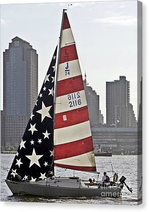 Canvas Print featuring the photograph Star Spangled Sail  by Lilliana Mendez