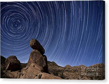 Star Trails Above A Granite Rock Canvas Print
