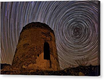 Star Trails Over Alborz Mountains Canvas Print