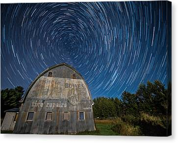 Star Trails Over Barn Canvas Print