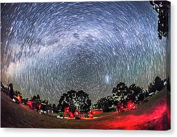 Star Trails Over The Ozsky Star Party Canvas Print by Alan Dyer
