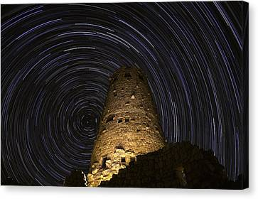 Star Trails Over The Watchtower Canvas Print by Jason Hatfield