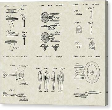 Star Trek Patent Collection Canvas Print by PatentsAsArt