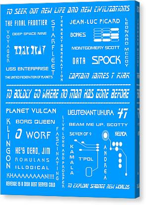Star Trek Remembered In Blue Canvas Print by Georgia Fowler