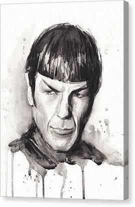 Star Trek Spock Portrait Sci-fi Art Canvas Print by Olga Shvartsur