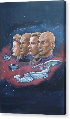 Canvas Print featuring the painting Star Trek Tribute Captains by Bryan Bustard