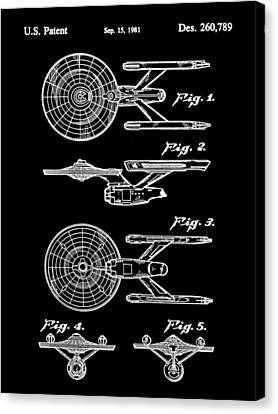 Star Trek Uss Enterprise Toy Patent 1981 - Black Canvas Print by Stephen Younts