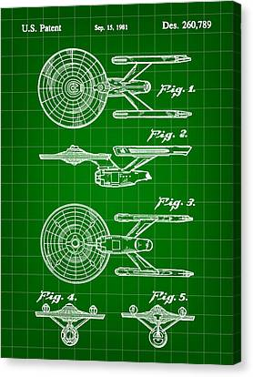 Star Trek Uss Enterprise Toy Patent 1981 - Green Canvas Print by Stephen Younts