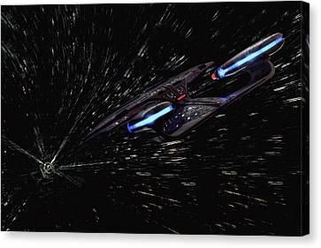Star Trek - Wormhole Effect - Uss Enterprise D Canvas Print by Jason Politte