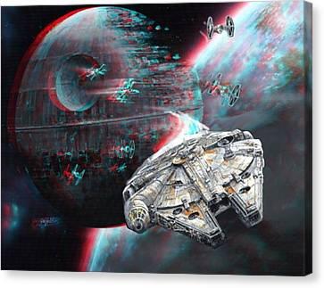 Star Wars 3d Millennium Falcon Canvas Print by Paul Van Scott