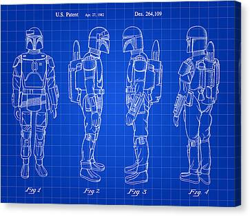 Star Wars Boba Fett Patent 1982 - Blue Canvas Print by Stephen Younts