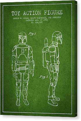 Star Wars Boba Fett Patent From 1982 - Green Canvas Print by Aged Pixel