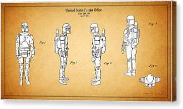 Star Wars - Boba Fett Patent Canvas Print by Mark Rogan