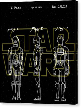 Star Wars C-3po Patent Canvas Print by Dan Sproul