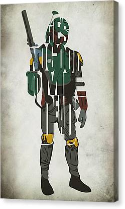 Character Canvas Print - Star Wars Inspired Boba Fett Typography Artwork by Inspirowl Design
