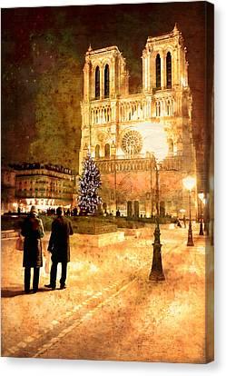 Stardust Over Notre Dame De Paris Cathedral Canvas Print by Mark E Tisdale