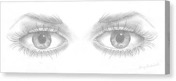 Canvas Print featuring the drawing Stare by Terry Frederick