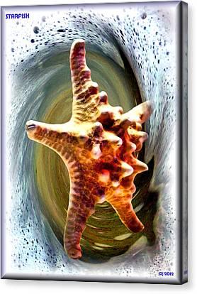 Canvas Print featuring the digital art Starfish by Daniel Janda