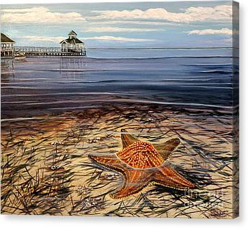 Starfish Drifting Canvas Print by Marilyn  McNish