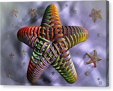 Canvas Print featuring the digital art Starfish by Manny Lorenzo
