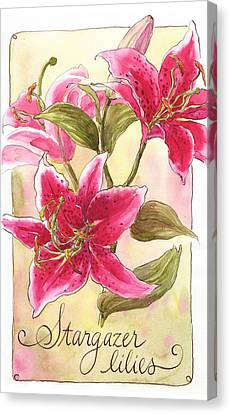 Stargazer Lilies Canvas Print by Leslie Fehling