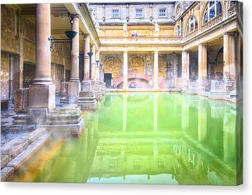 Staring Into Antiquity At The Roman Baths - Bath England Canvas Print by Mark E Tisdale