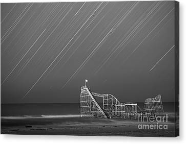 Starjet Roller Coaster Startrails Bw Canvas Print by Michael Ver Sprill