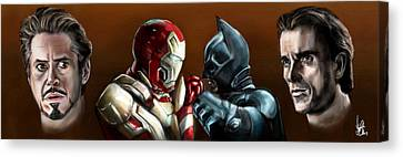 Ironman Canvas Print - Stark Industries Vs Wayne Enterprises by Vinny John Usuriello