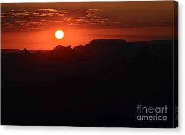 Stark Orange Sunset Twilight Over Silhouetted Spires In Grand Canyon National Park Canvas Print by Shawn O'Brien