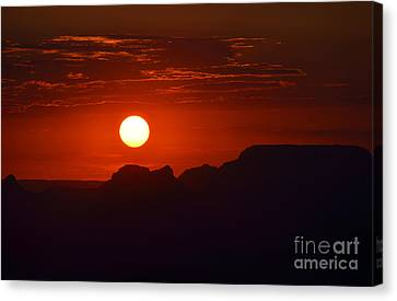Stark Orange Sunset Twilight Over Silhouetted Spires In The Grand Canyon Canvas Print by Shawn O'Brien